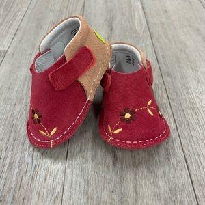 PIPIT suede Flower apricot camel walker shoes